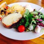 Mediterrean quiche, 1/2 jacket potato, salad & coleslaw