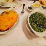 Potatoes au gratin & Creamed Spinach