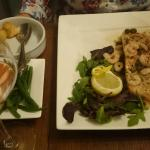 Poached wild salmon with Prawns and Mushrooms