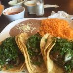 Fresh hot chips, salsas, steak tacos authentic style and chicken enchiladas