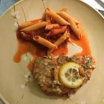 Split carry-out order of Chicken Francese with a side of pasta