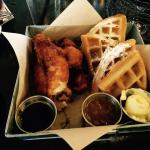 Fried chicken and waffles, with real maple syrup and a tasty gravy.