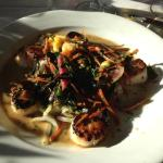 Seared sea scallops with rice noodles, Napa cabbage, pineapple-mango salsa and herbed pan sauce