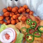California burger and Chicken Sandwich with sweet potatoes tots. Jalapeños super spicy. Big serv