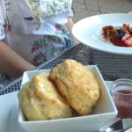 Flaky, HUGE biscuits, with yogurt and fruit.