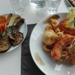 Frittura di mare e verdura grigliata