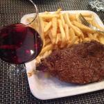 The faux fillet with frites and a 2011 Bordeaux.