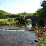 View of the bridge and road crossing Badgworthy water