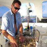 Robert prepering prawns for us