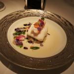 Isle of Gigha halibut with Atlantic king crab and a broth of finger lime and ras le hanout