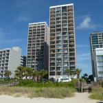 The two Palms buildings. Front is 3BRs. Back is 1BRs and can't see up the beach