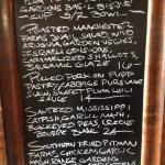 Specials of the night menu board