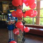 Balloons and arcade area at Red Robin