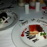 Special dessert made for our anniversary at private candlelight dinner!