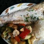 White fish with veggies and rice