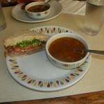 Homemade Veg Souyp and Half Beef Sandwich.