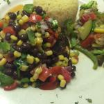 Blackened Grouper topped with a black bean corn salsa. Served with white rice, mixed vegetables