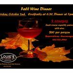 October 2, 2015 Wine Dinner