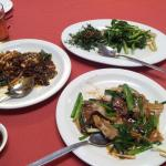 Kam heong squid, kailan fried 2 styles & ginger and onion beef