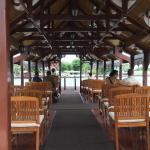 Daily fruit plate, lotus flower arrangement, Mandarin Oriental boat, hotel terrace and pier