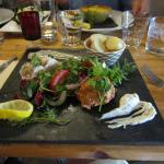 Selsey Crab Salad [foreground], Fish Pie [background]