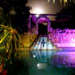Mayan pool illuminated