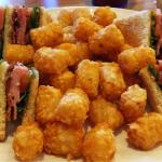 Old school club sandwich with tots.