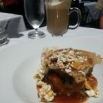 Chocolate Pretzel Croissant Bread Pudding with Popcorn and Bacon Tuile