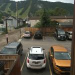 Parking lot right outside our bedroom