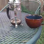 French press coffee out in one of the garden areas