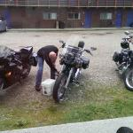 Might as well handwash the bikes while the weather isn't cooperating...gravel parking lot, fyi
