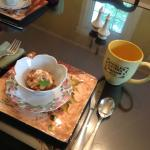 Start breakfast with coffee and baked peach