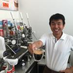 The friendly owner John, making extra strong coffee!