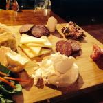 The Posh Ploughmans with wild boar prosciutto , elk summer sausage , Bison salami, rabbit & blue