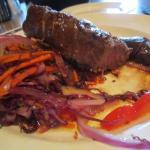 Bison steak dinner was excellent