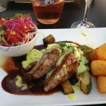 veal with potatoes and salad
