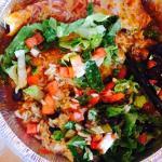 Pork Enchiladas with rice, beans, lettuce and pico de gallo