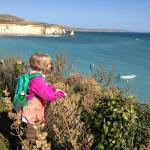 Granddaughter Cora takes in the view of the cliffs