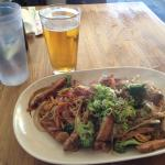 Chicken Yakisoba and a Kirin beer at happy hour :)