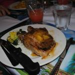 Black Orchid Resort dinner, pork chop w/pineapple