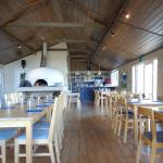 Inside the restaurant with the Pizza oven
