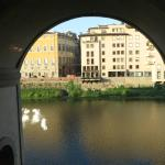 view of the Arno river from the breakfast room
