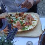 tarte flambee with chanterelles