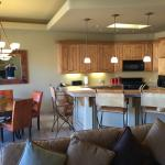 Kitchen and dining area, with breakfast bar!