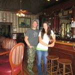 My husband and I in the historic bar