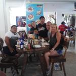enjoying a great lunch with dear friends