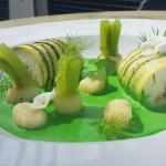 Halibut, courgette, gnocchi, baby turnips, Chive & Parsley Veloute,
