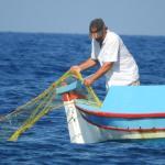 Fishing boat off Kamari beach