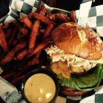 YUM!! Grilled Chicken on Pretzel Roll with Slaw and... Stuff!  FABULOUS Sweet Potato Fries!