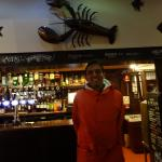 Me by the bar and giant lobster